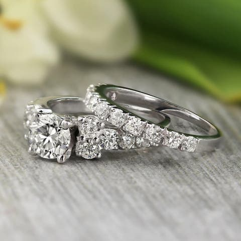 Auriya Platinum 2ctw Classic Round Diamond Engagement Ring Set