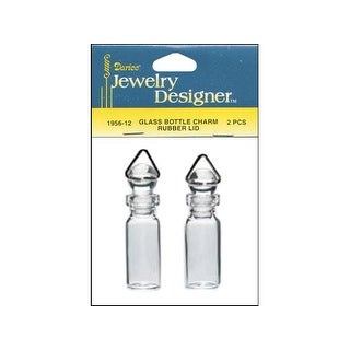 """Darice JD Charm Glass Bottle/Rubber Top 2"""" 2pc"""