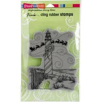 "Stampendous Cling Stamp 7.75""X4.5""-Lighthouse Christmas"