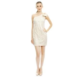 Aidan Mattox Flirty Fitted One Shoulder Lace Mini Bow Evening Dress - 4