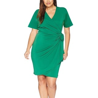 Link to Women's V-Neck Short Sleeve Midi Dress Tie Belted Jersey Wrap Dress Similar Items in Women's Plus-Size Clothing