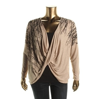 Miraclebody Womens Printed Twisted Wrap Top