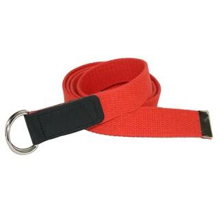 CTM® Cotton Plus Size Web 1 1/4 Inch Belt with Double D Ring Buckle (Option: Orange)