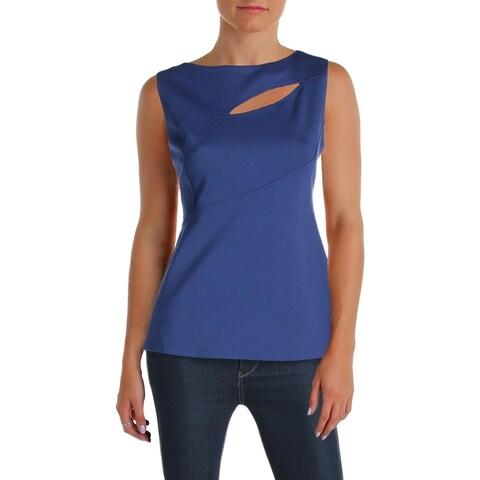 Anne Klein Womens Pullover Top Cut-Out Asymmetric