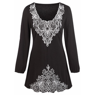 Women's Tunic Top - Floral Embroidered Black V-Neck Shirt