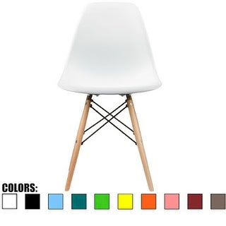 2xhome White - Eames Style Molded Bedroom & Dining Room Side Ray Chair with Natural Wood Eiffel Legs Base