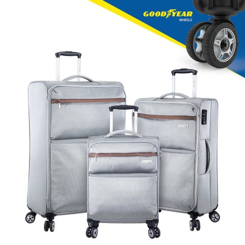 3 Luggage Set With Spinner Goodyear Wheels - Built-In TSA Lock - Soft Case - Grey