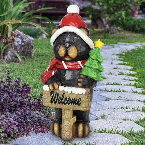 Exhart Hand Painted Holiday Bear Statue with Welcome Sign and Christmas Tree, 11.5 Inches