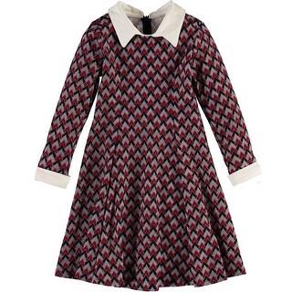 Bonnie Jean Girls 7-16 Chevron Knit Dress - Red