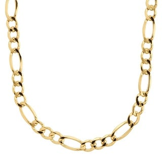 "Eternity Gold Men's Figaro Link Solid Chain Necklace in 14K Gold, 20"" - YELLOW"