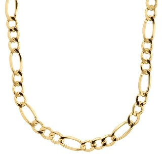 "Eternity Gold Men's Figaro Link Solid Chain Necklace in 14K Gold, 24"" - YELLOW"