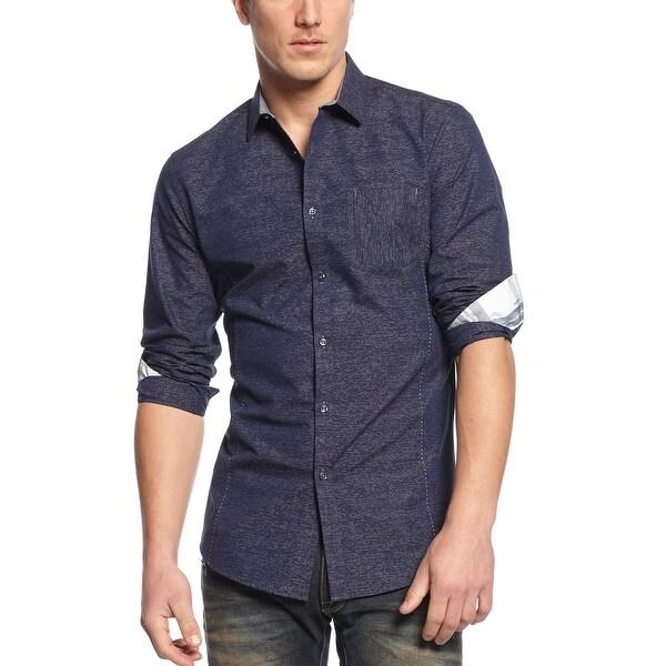 INC International Concepts Slim Fit Dotted Stripe Shirt Navy Heather Medium
