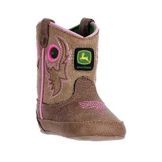 John Deere Western Boots Girls Crib Broad Square Toe Brown JD0021