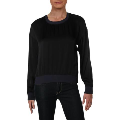 Nation LTD Womens Sweatshirt Ribbed Trim Long Sleeves