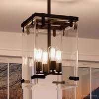 """Luxury Modern Farmhouse Pendant Light, 28.375""""H x 14.75""""W, with Industrial Chic Style, Olde Bronze Finish by Urban Ambiance"""
