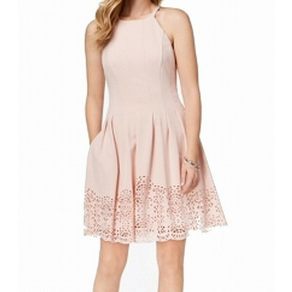 Vince Camuto Pink Womens Size 10 Pleated Laser-Cut A-Line Dress