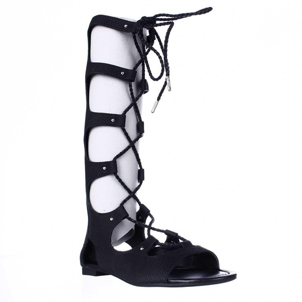 B35 Rayanne Mid Calf Gladiator Sandals, Black - 5 us