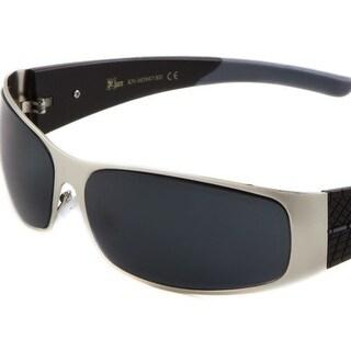 KHAN Metal Wrap Around Sunglasses Super Dark Lens