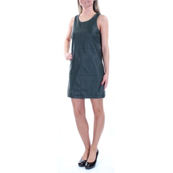 25fef178cb5062 Shop BAR III Womens Green Faux Leather Sleeveless Jewel Neck Above The Knee  Wear To Work Dress Size  XS - Free Shipping On Orders Over  45 -  Overstock.com - ...