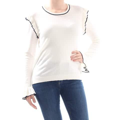 CECE Womens Beige Ruffled Long Sleeve Crew Neck Sweater Size L