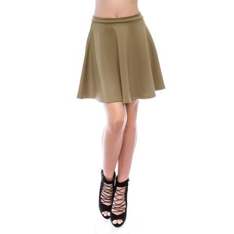 Simply Ravishing Women's Basic Stretch Flared Skater Mini Skirt