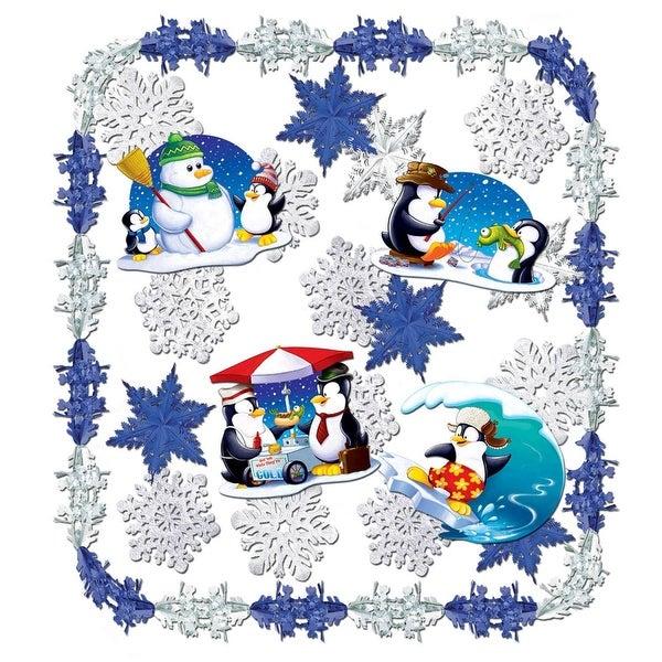 24 Piece Let It Snow Metallic Christmas and Winter Wonderland Themed Decorating Kit