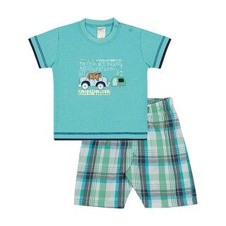 Baby Boy Outfit Infant Shirt and Plaid Shorts Set Pulla Bulla Sizes 3-12 Months