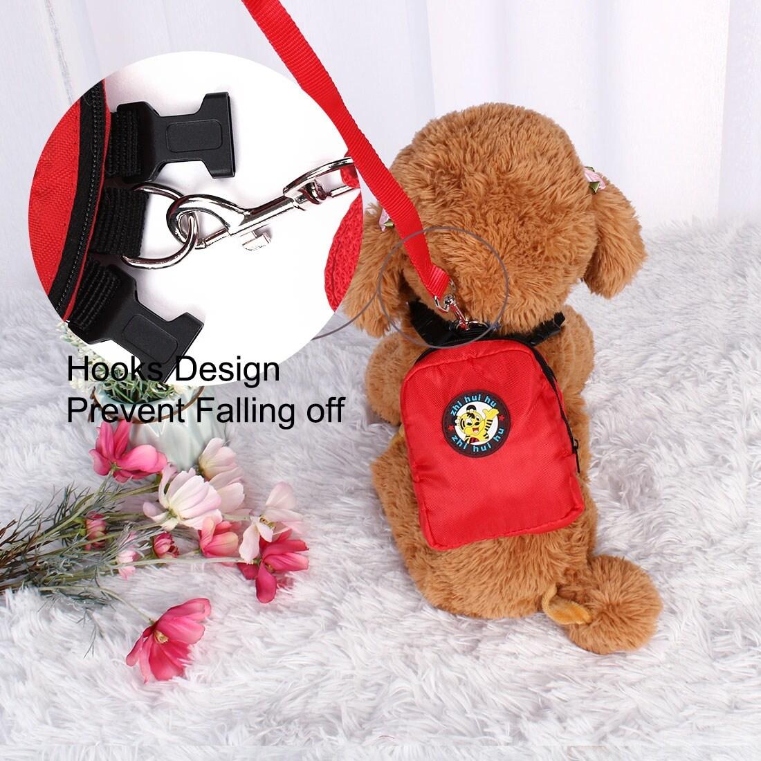Dog Backpack Adjustable Straps Puppy Pet Carrier Holder Bag with Leash Rope (Blue - L)