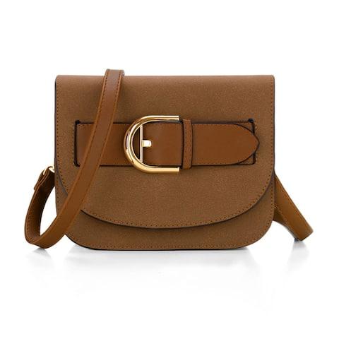 Women Buckle Decor Front Contrast Color Trim PU Crossbody Bag Brown