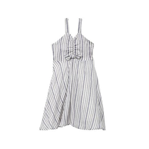 Jessica Simpson Girls Dress Blue Size Large L Striped Marley Ruched Midi