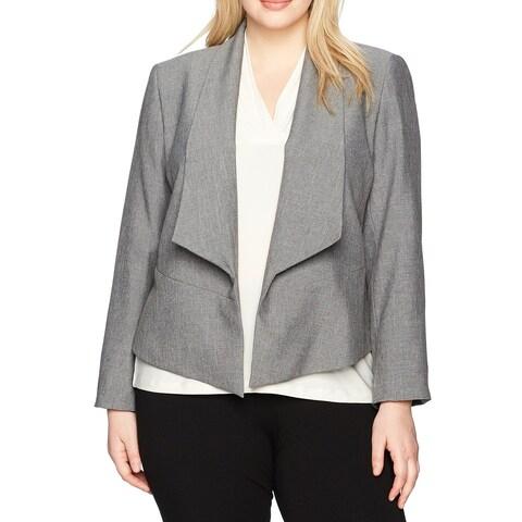 Nine West Gray Womens Size 22W Plus Shawl Collar Open Front Blazer
