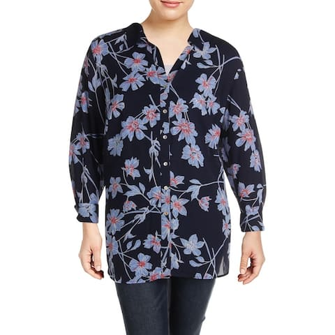 Foxcroft NYC Womens Plus Button-Down Top Floral Print OfficeWea - Navy Floral