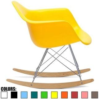 2xhome - Yellow Modern Plastic Rocker Rocking Chairs Lounge Chair Nursery with Arm Wood Wire Leg