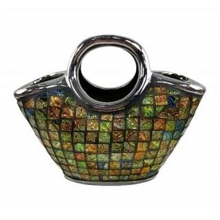 Dolce Mela DMCV008 Purse Decorative Ceramic & Glass Flower Vase - 7.5 x 4 x 13.25 in.