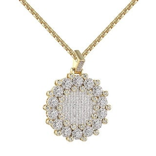 Cluster Set Medallion Pendant Iced Out Lab Diamond Chain 14k Gold Tone
