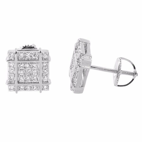 Silver Tone Earrings Iced Out Lab Diamonds Screw Back Studs Hip Hop Mens