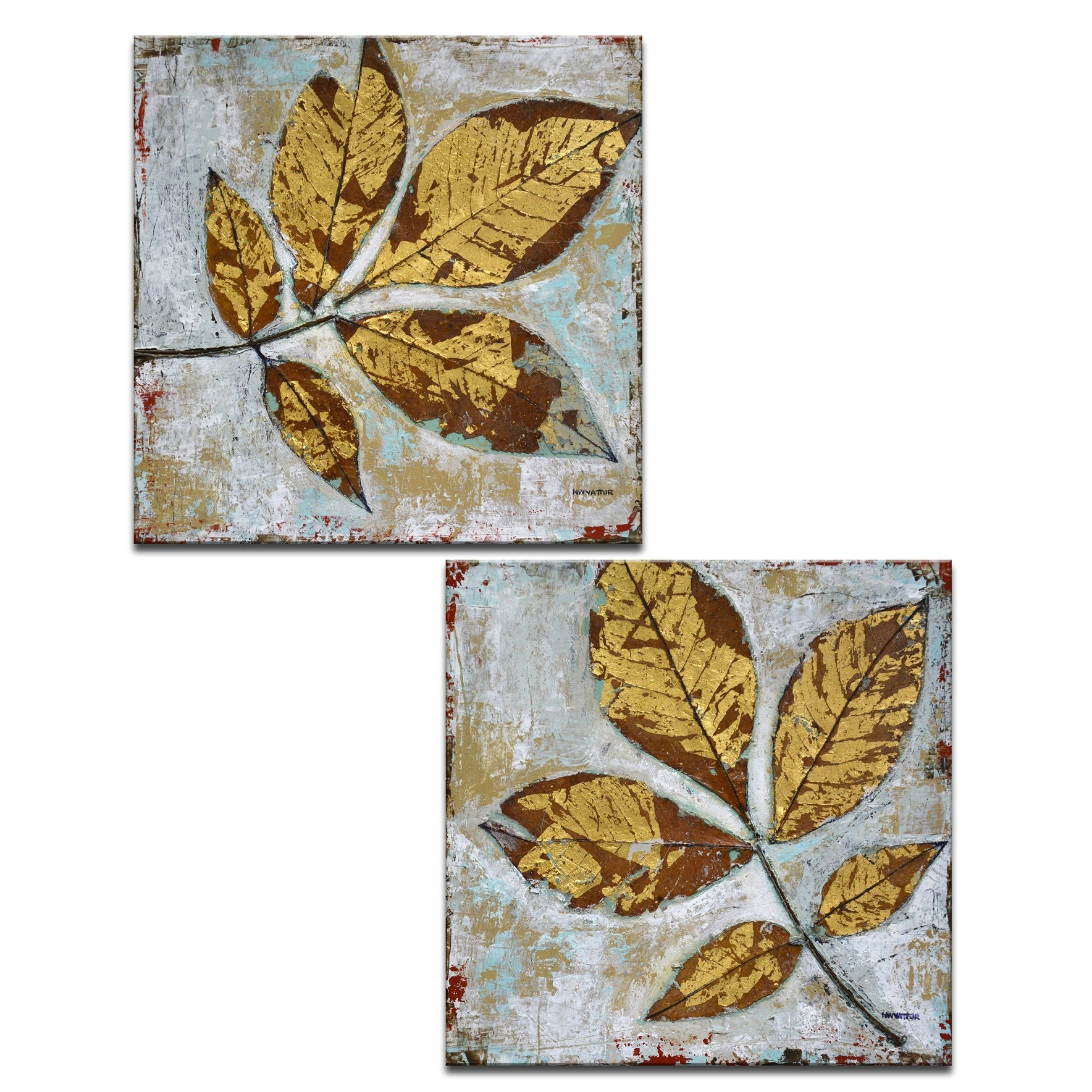 Gilded Autumn Leaves 2 Pc Wrapped Canvas Wall Art Set By Norman Wyatt Jr On Sale Overstock 13254081