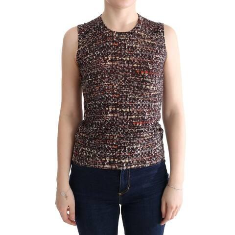 Multicolor Print Knit Top Wool Men's T-shirt