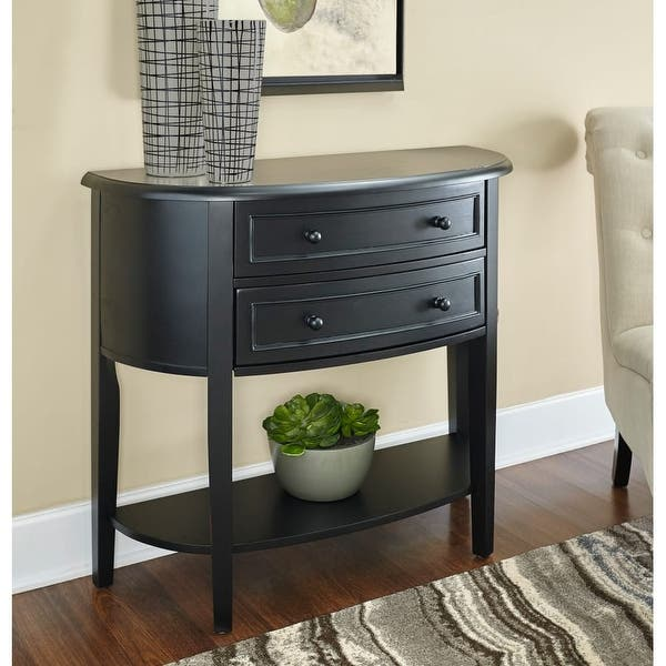 Powell Home Fashions 502 515 Demilune 37 9 10 Inch Wide 2 Drawer Console Table Antique Black N A