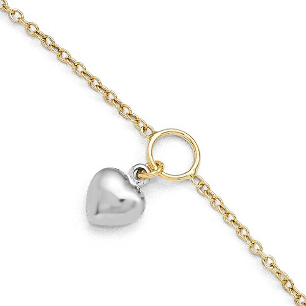 Italian 14k Two-Tone Gold Polished Heart Anklet with 1in ext - 9 inches