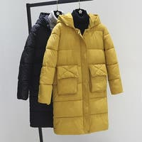 Long thick solid color large pocket cotton coat