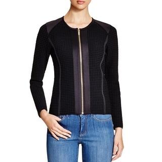 Calvin Klein Womens Jacket Textured Knit Collarless
