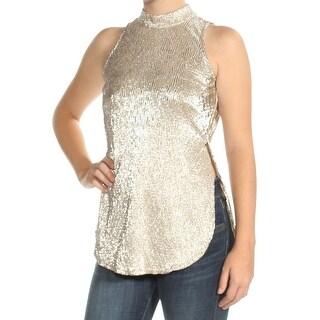 Womens Gold Sleeveless Jewel Neck Top Size 2XS