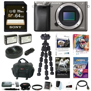 Sony Alpha a6000 Camera Body w/ 64GB Deluxe Accessory Kit - Graphite