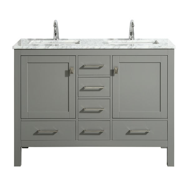 """Eviva London 48"""" x 18"""" Gray Transitional Double Sink Bathroom Vanity w/ White Carrara Top. Opens flyout."""