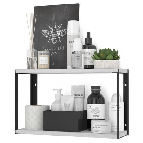 "Wallniture Roca 17"" Wooden Wall Shelf for Bathroom Organization and Storage, 2-Tier, White"