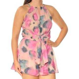 Womens Beige Printed Sleeveless Casual Romper Size 4