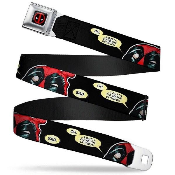 Marvel Universe Deadpool Logo Full Color Black Red White Deadpool Eyes Seatbelt Belt