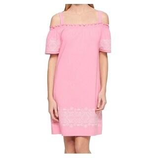 Tommy Hilfiger NEW Pink Women Large L Woven Cold-Shoulder Shift Dress