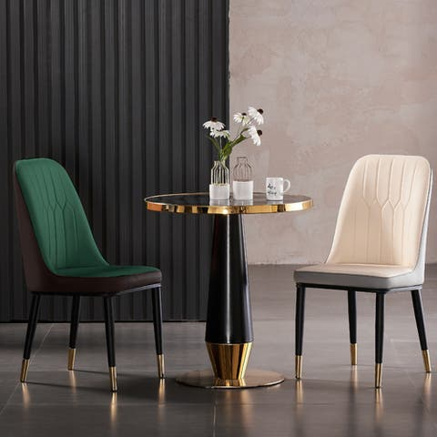Urban Upholstered Faux Leather Padded Parson Dining Chairs (Set of 4)